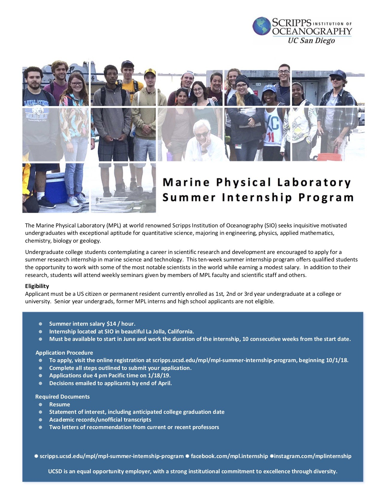 2019 Summer Internship at UCSD/Scripps Institution of Oceanography
